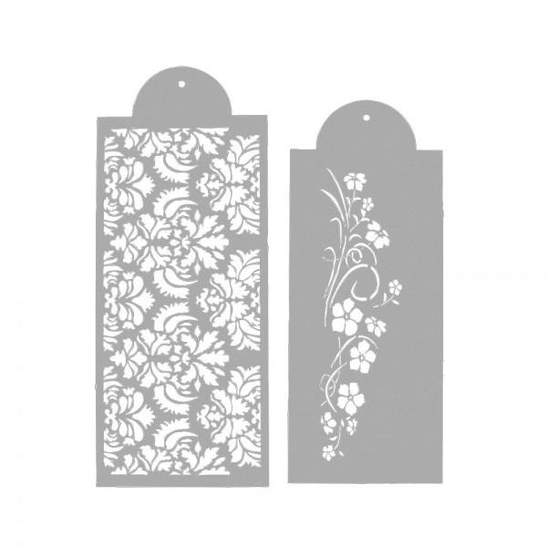 Schablone Blumenranke ca. 37 x 17 cm / 33 x 15 cm Weiß Set, 2-teilig