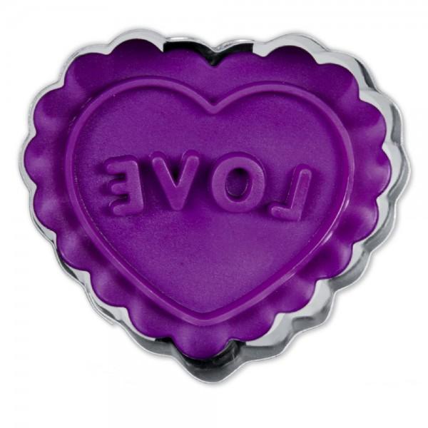 Prägeausstecher Herz ca. 4,5 cm Lila / Violett