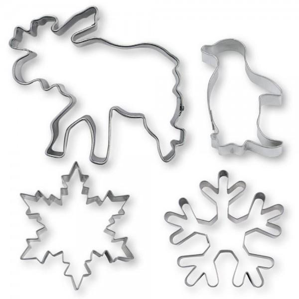 Ausstecher Winterwunderland ca. 7–7,5 cm Set, 4-teilig