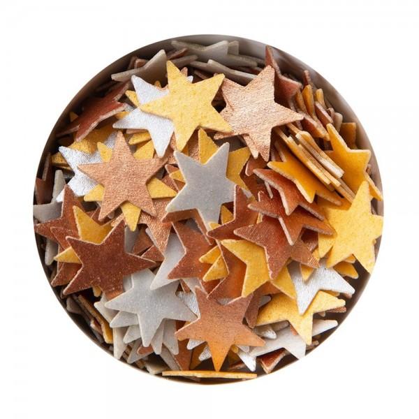Streudekor Esspapier Stern ca. 12 mm Gold/Silber/bronze 3 g