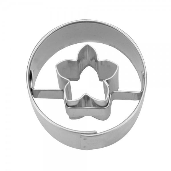 Ausstecher Blüte in Ring Mini Edelstahl 3cm