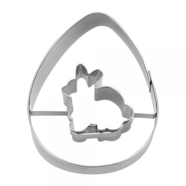 Ausstecher Ei mit Hase ca. 7 cm