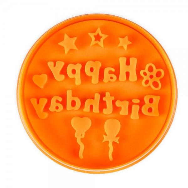 Prägeausstecher Happy Birthday ca. 6,5 cm Orange
