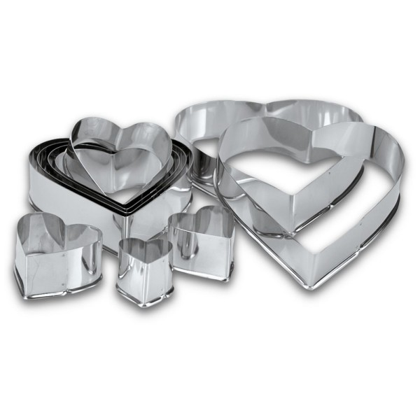 Ausstecherset Herzen ca. 3–11,5 cm Set, 10-teilig