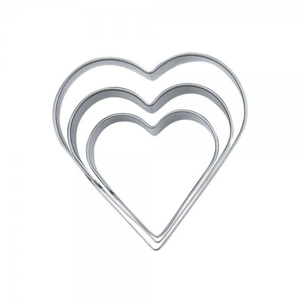 Ausstecher Herz ca. 4 / 5 / 6 cm glatt Set, 3-teilig