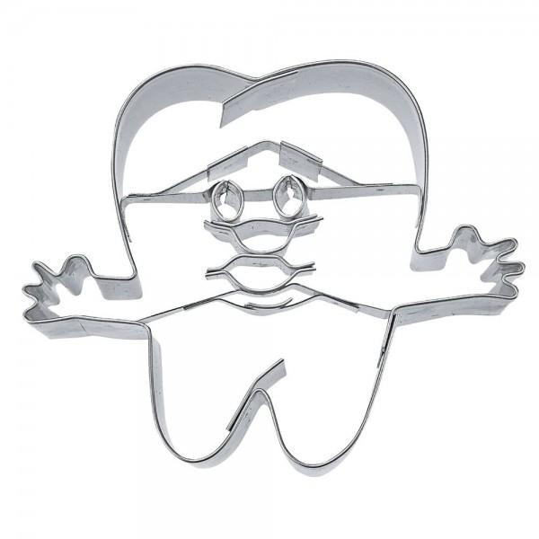 Prägeausstecher Zahn ca. 7 cm mit Gesicht und Händen