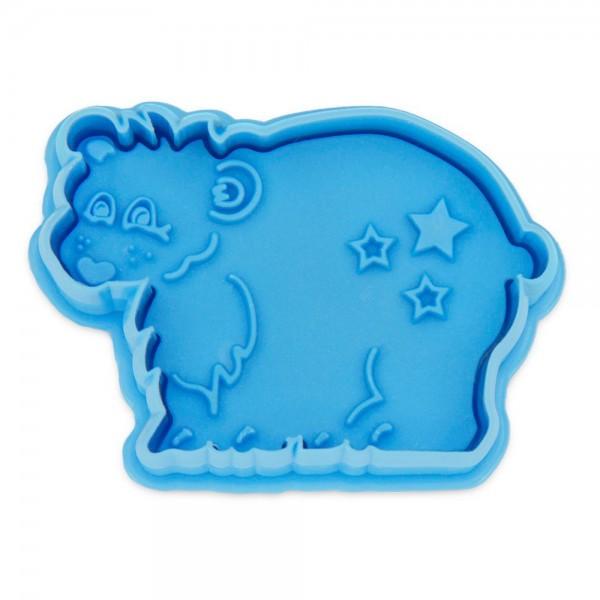 Prägeausstecher Eisbär ca. 6 cm Hellblau
