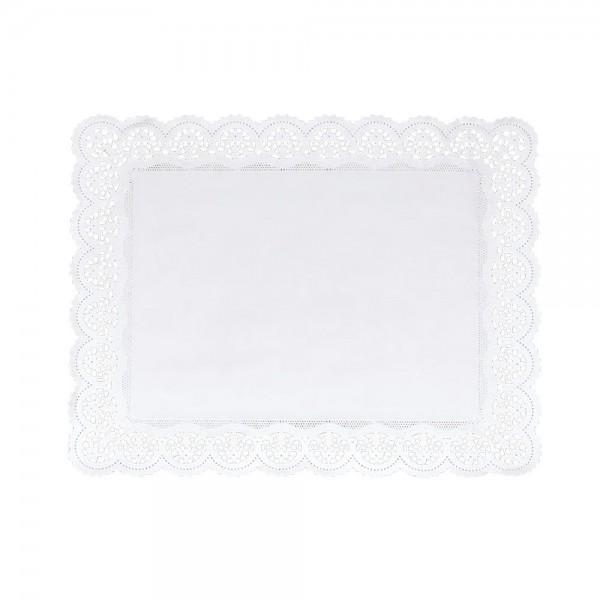 Tortenspitze ca. 46 x 36 cm Weiß für Buchtorte 4 Stück