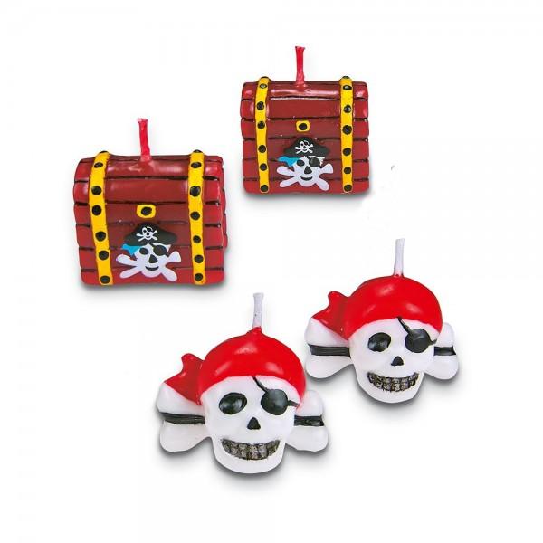 Kerze Pirat ca. 3 cm Bunt Set, 4-teilig