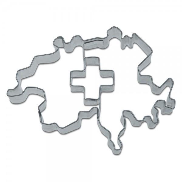 Ausstecher Kontur Schweiz mit Kreuz ca. 8,5 cm