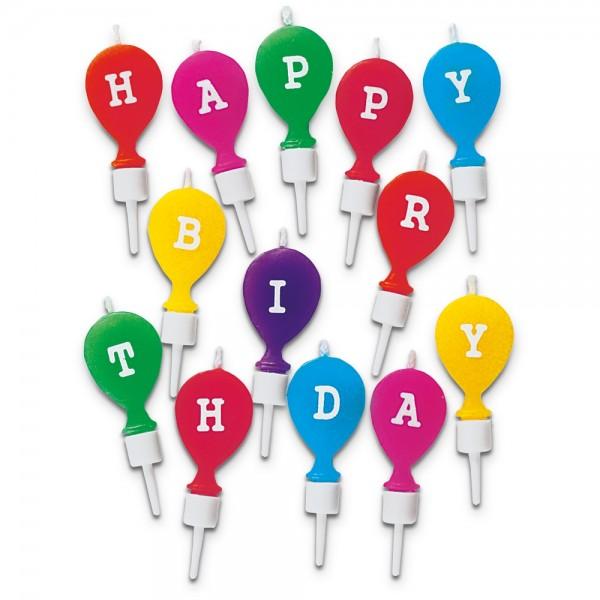 Kerze Happy Birthday ca. 2 x 5 cm Bunt mit Halter Set, 13-teilig