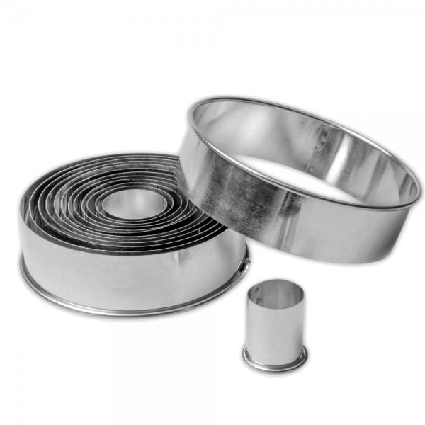 Ausstecher Ringe / Kreise ca. 2,5–11,5 cm glatt Set, 14-teilig
