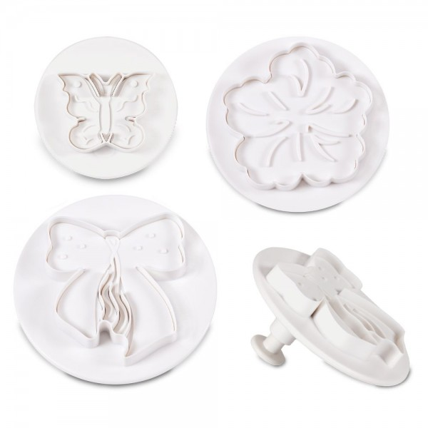 Ausstecherset Schmetterling – Blüte – Schleife ca. 30 / 55 / 60 Set, 3-teilig