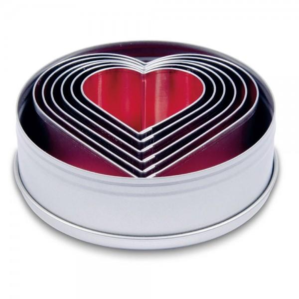 Ausstecher Herzen ca. 4,5–9 cm Set, 6-teilig