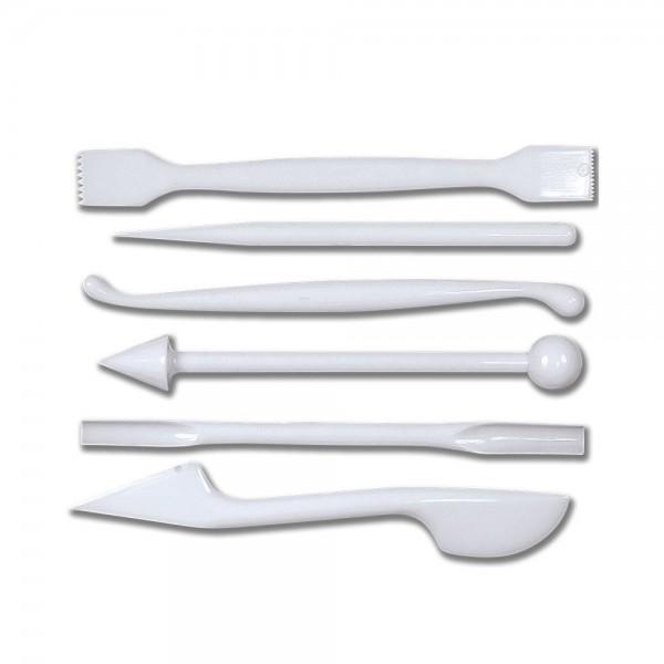 Modellierwerkzeug Modellierwerkzeuge ca. 14 cm Weiß Set, 6-teilig