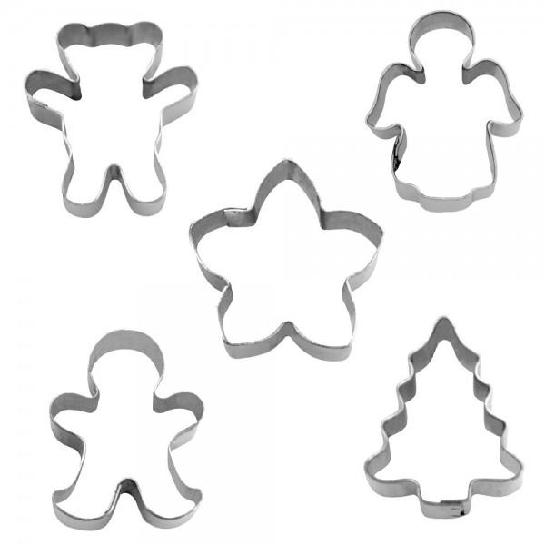 Ausstecher Weihnachten ca. 1,5 cm Mini Set, 5-teilig