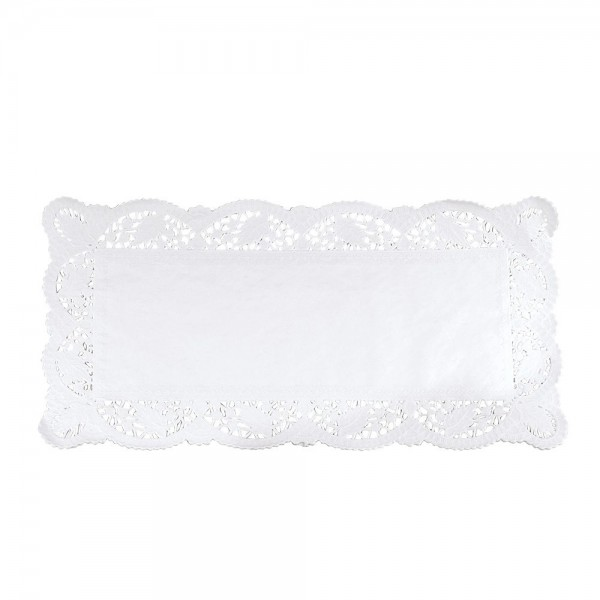 Tortenspitze ca. 40 x 20 cm Weiß Rechteck 6 Stück