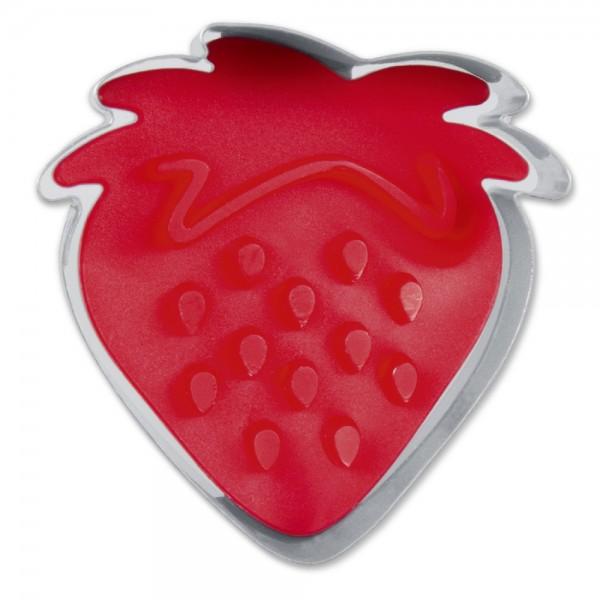 Prägeausstecher Erdbeere ca. 4,5 cm Rot