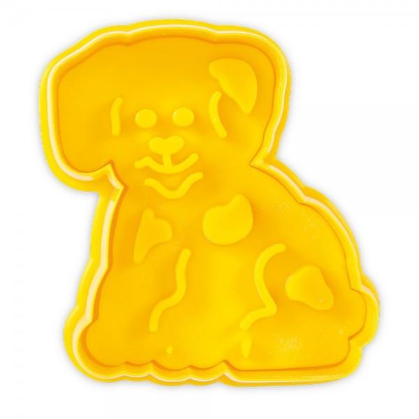 Prägeausstecher Hund ca. 7 cm Gelb