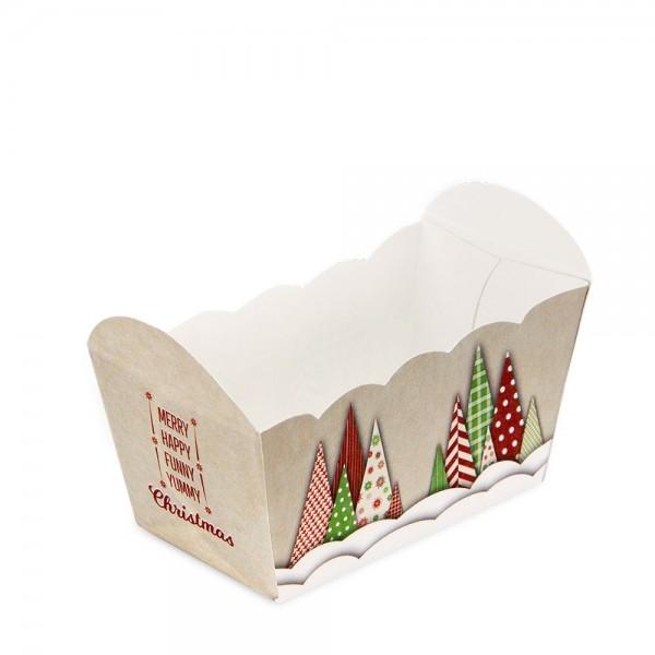 Papierbackform Yummy Christmas ca. 7 x 4 x 4 cm Bunt 10 Stück