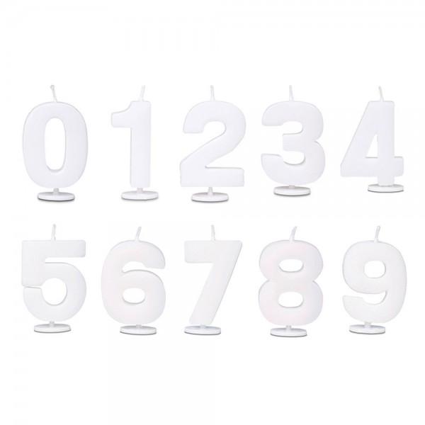 Kerze Ziffer 0–9 ca. 4,5 cm Weiß mit Halter Set, 10-teilig