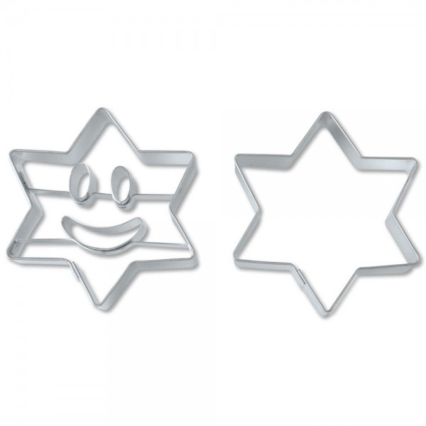 Prägeausstecher Lachender Stern ca. 6,5 cm Set, 2-teilig