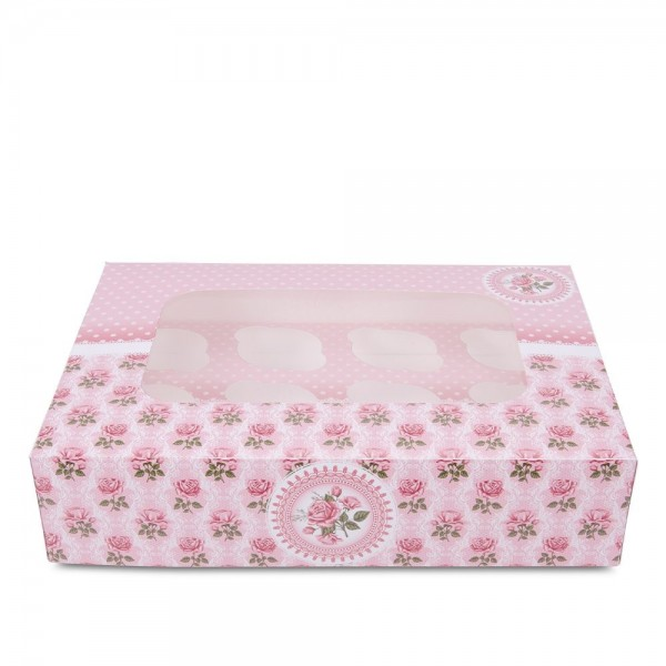 Muffinbox Rosengarten ca. 33 x 16,5 x 7,5 cm 12er