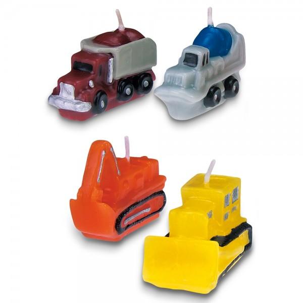 Kerze Baustellenfahrzeuge ca. 4–5 cm Bunt Set, 4-teilig