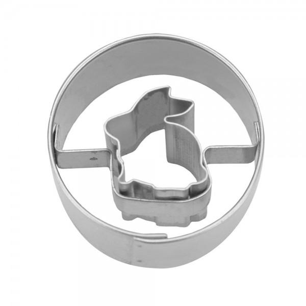 Ausstecher Hase sitzend in Ring Mini Edelstahl 3cm