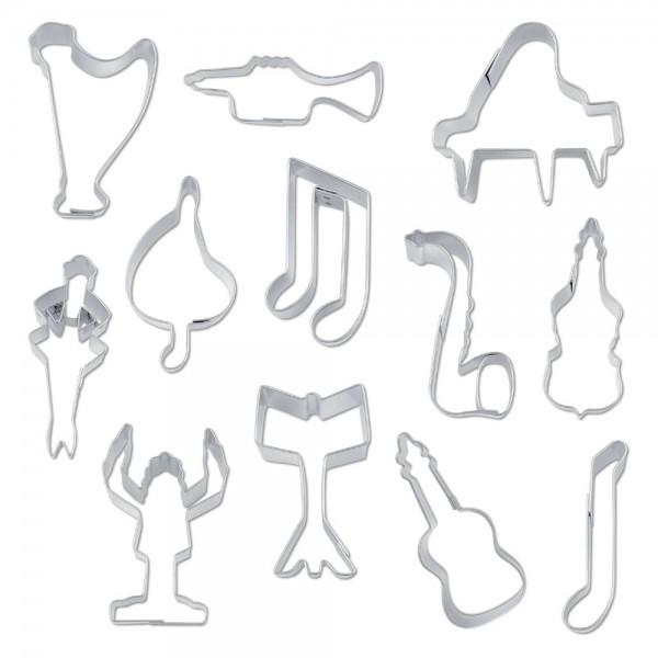 Ausstecher Musik ca. 5–7,5 cm Set, 12-teilig