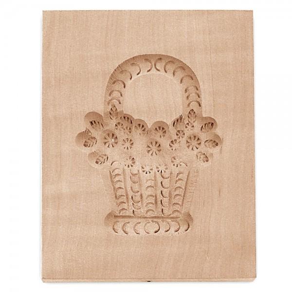 Holz-Prägeform Blumenkorb ca. 9 x 12 cm