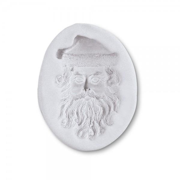 Prägeform  Weihnachtsmann-Gesicht ca. 5 cm Weiß Reliefform