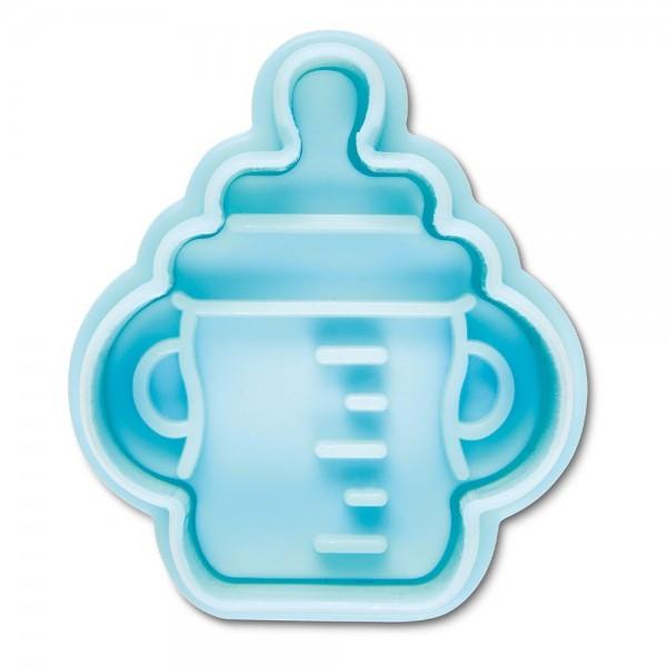 Prägeausstecher Babyflasche ca. 5 cm Hellblau