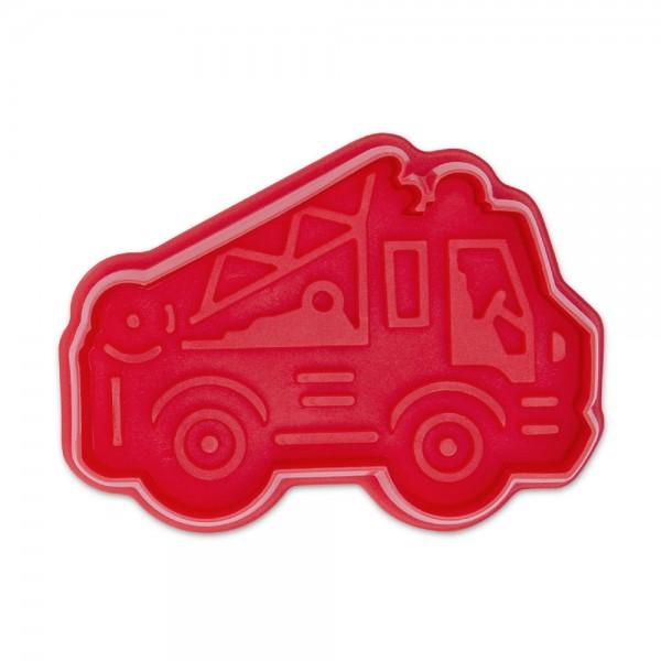 Prägeausstecher Feuerwehrauto 6,5 cm Rot
