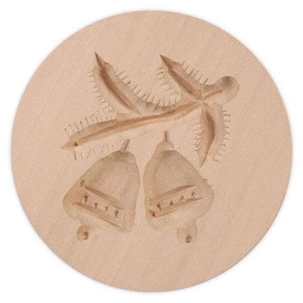 Holz-Prägeform Zweig mit Glocken ca. ø 8 cm