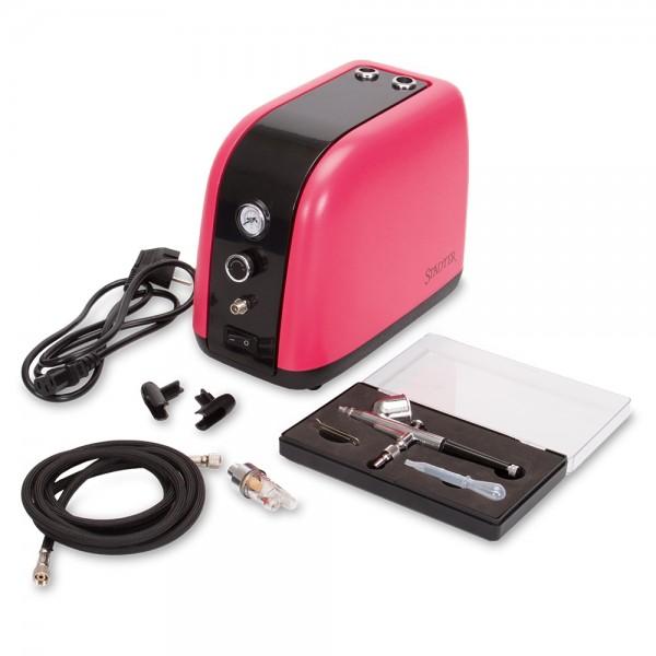 Airbrush-Kompressor 25 x 14 x 20,5 cm Rot Set, 6-teilig