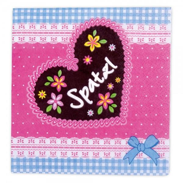 Papierserviette Spatzl ca. 25 x 25 cm Rosa 20 Stück