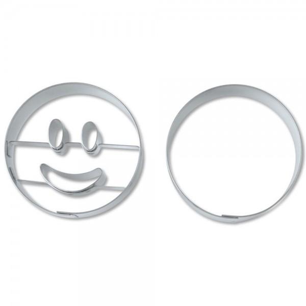 Prägeausstecher Lachender Kreis ca. 5 cm Set, 2-teilig