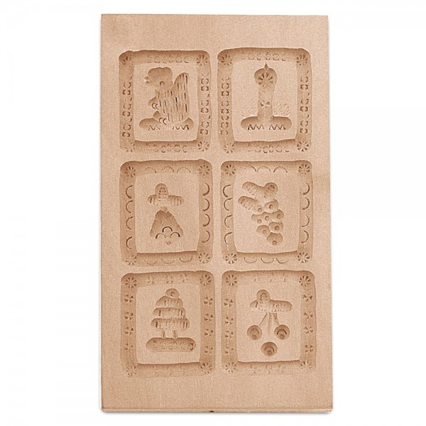 Holz-Prägeform 6 Motive ca. 9,5 x 17,5 cm