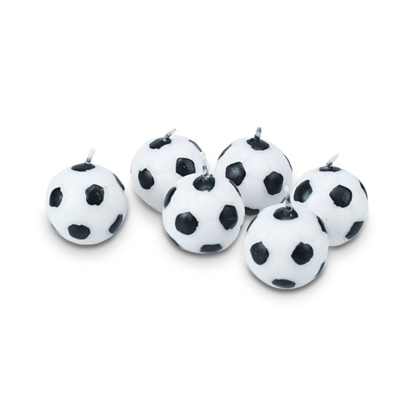 Kerze Fußball ca. 2,5 cm Weiß Set, 6-teilig