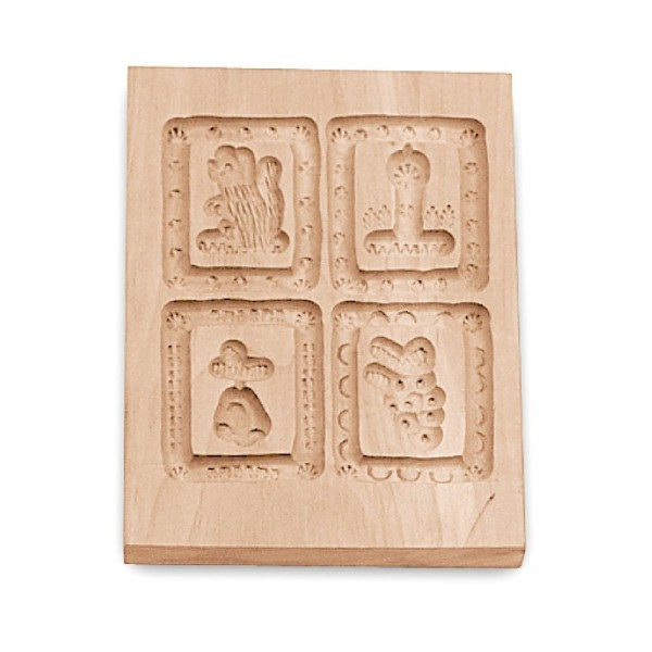 Holz-Prägeform 4 Motive ca. 10 x 12 cm