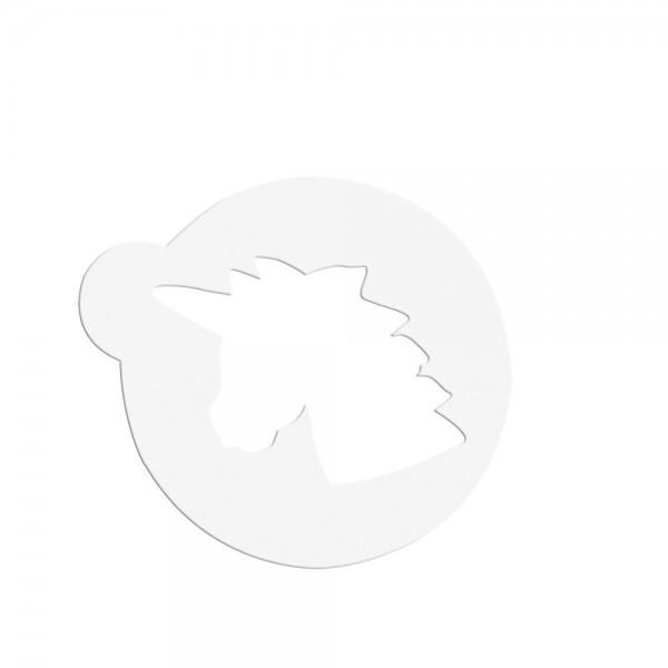 Schablone Einhornkopf ca. ø 8 cm Weiß
