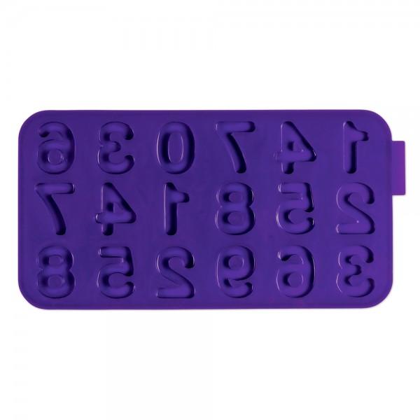 Schokoladenform Zahlen ca. 22,5 x 12 cm Lila / Violett Silikon