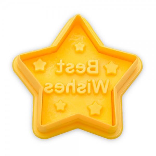 Prägeausstecher Stern ca. 4,5 cm Gelb Best Wishes