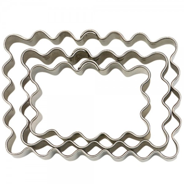 Ausstecher Rechteck ca. 5 / 6 / 7 cm gewellt Set, 3-teilig