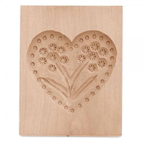Holz-Prägeform Herz ca. 9 x 12 cm