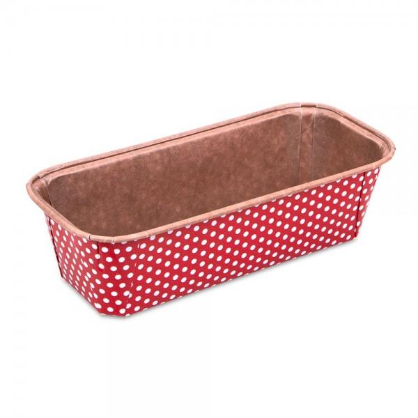 Papierbackform Kastenform ca. 17,5 x 7 cm / H 5 cm Rot Mini 6 Stück 500 ml