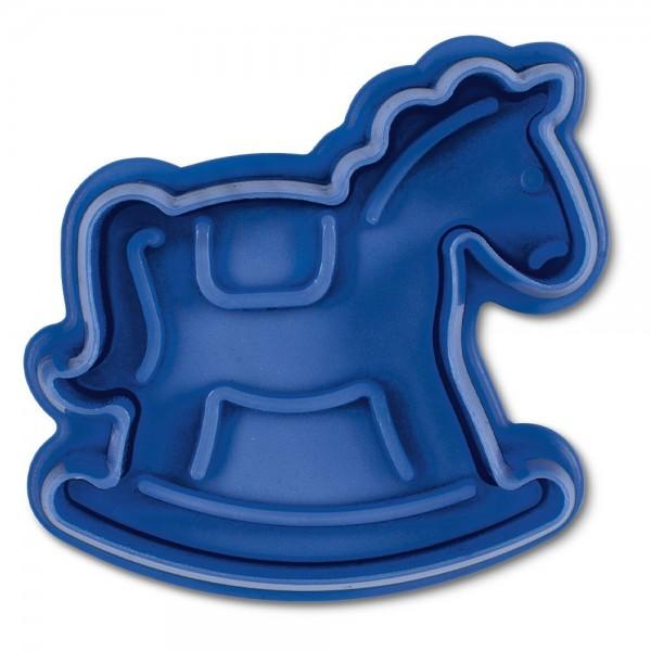 Prägeausstecher Schaukelpferd ca. 6 cm Blau