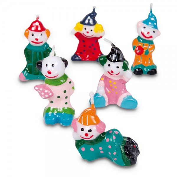 Kerze Clowns ca. 3,5–5 cm Bunt Set, 6-teilig
