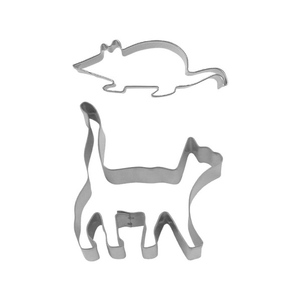 Ausstecher Katz & Maus ca. 7–9 cm Set, 2-teilig